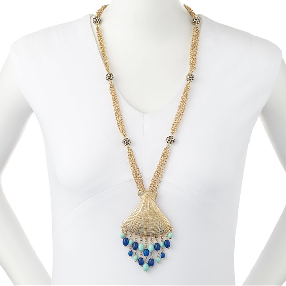 NEW Lilly Pulitzer Gold & Blue Bombshell Necklace